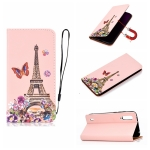 For Xiaomi Mi CC9e Pure Color Painting Horizontal Flip Leather Case with Card Slots & Holder & Lanyard(Iron Tower)