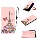 For Xiaomi Redmi 7 Pure Color Painting Horizontal Flip Leather Case with Card Slots & Holder & Lanyard(Iron Tower)