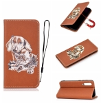 For Xiaomi Mi 9 SE Pure Color Painting Horizontal Flip Leather Case with Card Slots & Holder & Lanyard(Dog)