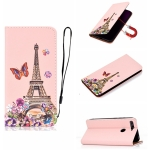 For Xiaomi Mi 8 Lite Pure Color Painting Horizontal Flip Leather Case with Card Slots & Holder & Lanyard(Iron Tower)