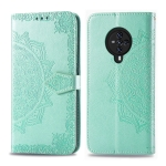 For Vivo S6 Halfway Mandala Embossing Pattern Horizontal Flip PU Leather Case with Card Slots & Holder & Wallet(Green)