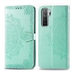 For Huawei P40 Lite  / Nova 7 SE Embossed Mandala Pattern PC + TPU Horizontal Flip Leather Case with Card Slots & Holder & Wallet(Green)