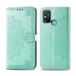 For Huawei Honor Play 9A Halfway Mandala Embossing Pattern Horizontal Flip PU Leather Case with Card Slots & Holder & Wallet(Green)