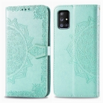 For Galaxy A51 5G Embossed Mandala Pattern PC + TPU Horizontal Flip Leather Case with Card Slots & Holder & Wallet(Green)