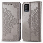For Galaxy A71 5G Halfway Mandala Embossing Pattern Horizontal Flip PU Leather Case with Card Slots & Holder & Wallet(Grey)