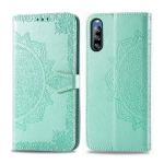 For Sony Xperia L4 Embossed Mandala Pattern PC + TPU Horizontal Flip Leather Case with Card Slots & Holder & Wallet(Green)