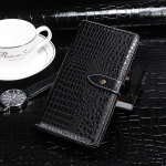 For Motorola One Macro idewei Crocodile Texture Horizontal Flip Leather Case with Holder & Card Slots & Wallet(Black)