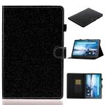 For Lenovo Tab M10 TB-X605F / X505 Glossy Glitter Powder Horizontal Flip Leather Case with Holder & Card Slot(Black)