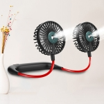 Lazy Hanging Neck Spray Fan USB Charging Outdoor Sports Portable Folding Mini Fan (Black)