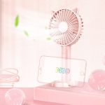 N10 Multi-function Handheld Desktop Holder Electric Fan, with 3 Speed Control (Pink)