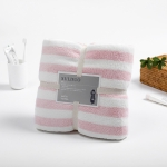 Polyester Coral Velvet Cation Bath Towel Super Absorbent  Bathroom Soft Cloth Wipe Towel, Size: 70x140cm (Pink)