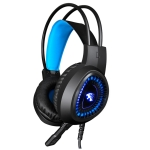 HAMTOD V1000 Dual-3.5mm Plug Interface Gaming Headphone Headset with Mic & LED Light, Cable Length: 2.1m (Blue)