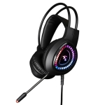 HAMTOD V1000 Dual-3.5mm Plug Interface Gaming Headphone Headset with Mic & RGB LED Light, Cable Length: 2.1m (Black)