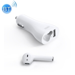 JOYROOM JR-CP1 Bluetooth 5.0 Multi-function Quick Charging Car USB Charger with Wireless Earphone (White)