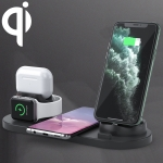 6 in 1 10W Qi Standard Wireless Charger Stand (Black)