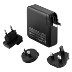 MOMAX IP93H 18W Q.Power Plug PD Quick Charging Travel Charger Power Adapter Set, with UK / AU / EU Plug(Black)