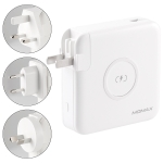 MOMAX IP93MFI Q.Power Plug PD Quick Charging Travel Charger Power Adapter with MFI Cable & UK / AU / EU Plug(White)