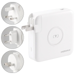 MOMAX IP93 18W Q.Power Plug Travel Charger Power Adapter with Type-C / USB-C Cable & UK / AU / EU Plug(White)