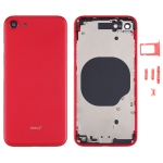 Battery Back Cover with Camera Lens Cover & SIM Card Tray & Side keys for iPhone SE 2020(Red)