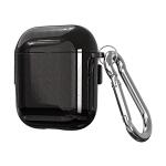 For AirPods 1 / 2 Metal Glitter PC Wireless Earphone Protective Case (Black)