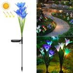 Simulated Lily Flower 4 Heads Solar Powered Outdoor IP55 Waterproof LED Decorative Lawn Lamp, Colorful Light (Blue)
