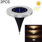 2 PCS 10 LEDs Solar Powered Buried Light Under Ground Lamp IP65 Waterproof Outdoor Garden Street Light (Warm White)