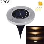 2 PCS 12 LEDs Solar Powered Buried Light Under Ground Lamp IP65 Waterproof Outdoor Garden Street Light (Warm White)