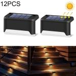 12 PCS Solar Powered LED Outdoor Stairway Light IP65 Waterproof Garden Lamp, Warm White Light(Black)