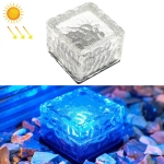 Solar Powered Square Tempered Glass Outdoor LED Buried Light Garden Decoration Lamp IP55 Waterproof,Size: 7 x 7 x 5cm (Blue Light)