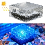 Solar Powered Square Tempered Glass Outdoor LED Buried Light Garden Decoration Lamp IP55 Waterproof,Size: 10 x 10 x 5.2cm(Blue Light)