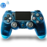 Transparent Wireless Bluetooth Game Handle Controller with Lamp for PS4, EU Version(Blue)