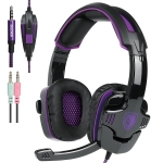 SADES SA-930 3.5mm Gaming Headset Wired Headphone with Wire Control + Mic for PS4, PC, Laptop, Mobile Phones(Purple)