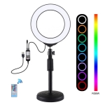 PULUZ Round Base Desktop Mount + 6.2 inch 16cm USB RGBW Dimmable LED Ring Vlogging Photography Video Lights with Cold Shoe Tripod Ball Head & Remote Control (Black)