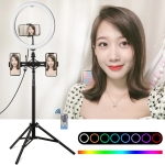 PULUZ 11.8 inch 30cm RGBW Light + 1.65m Mount + Dual Phone Brackets Curved Surface RGBW Dimmable LED Ring Vlogging Light  Live Broadcast Kits with Cold Shoe Tripod Adapter & Phone Clamp & Remote Control(Black)