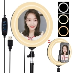 PULUZ 7.9 inch 20cm USB 3 Modes Dimmable Dual Color Temperature LED Curved Light Ring Vlogging Selfie Photography Video Lights with Mirror (Black)