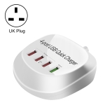 WLX-T3+ 4 Ports Smart Quick Charging USB Travel Charger Power Adapter, UK Plug