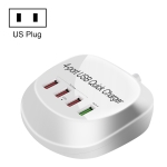 WLX-T3+ 4 Ports Smart Quick Charging USB Travel Charger Power Adapter, US Plug