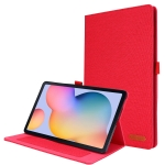 For Samsung Galaxy Tab S6 Lite Horizontal Flip TPU + Fabric PU Leather Protective Case with Name Card Clip(Red)