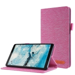 For Lenovo Tab M7 Horizontal Flip TPU + Fabric PU Leather Protective Case with Name Card Clip(RoseRed)