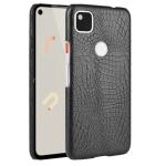For Google Pixel 4a Shockproof Crocodile Texture PC + PU Case(Black)