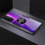 For Huawei Honor 30 Shockproof Transparent TPU + Acrylic Protective Case with Ring Holder(Black)