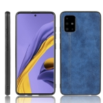 For Galaxy A71 5G Shockproof Sewing Cow Pattern Skin PC + PU + TPU Case(Blue)
