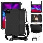 For iPad Pro 11 2020 Honeycomb Design EVA + PC Four Corner Anti Falling Flat Protective Shell With Straps(Black+Black)