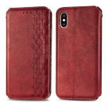 For iPhone XS/X Cubic Grid Pressed Horizontal Flip Magnetic PU Leather Case with Holder & Card Slots & Wallet & Lanyard(Red)