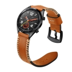 22mm For Huawei Watch GT2e GT2 46mm Strap Leather Strap(Brown)