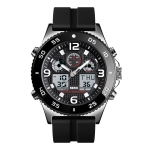 SKMEI 1538 Multi-Function Time Large Dial Steel Belt Men  Casual Sports Electronic Watch(Silver-Silicone Belt)