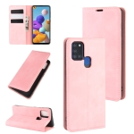 For Galaxy A21s Retro-skin Business Magnetic Suction Leather Case with Holder & Card Slots & Wallet(Pink)