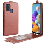 For Galaxy A21S R64 Texture Single Vertical Flip Leather Protective Case with Card Slots & Photo Frame(Brown)