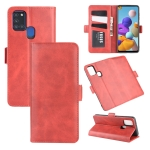 For Galaxy A21S  Dual-side Magnetic Buckle Horizontal Flip Leather Case with Holder & Card Slots & Wallet(Red)