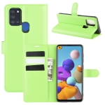For Galaxy A21S Litchi Texture Horizontal Flip Protective Case with Holder & Card Slots & Wallet(Green)